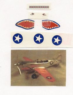 Hubley P 40 airplane Flying Tiger plane Paper cut ,peel,stick decals