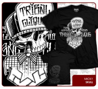 Streetwear MICKY SKULL Mens Black T Shirt Graphic Short Sleeve Tee
