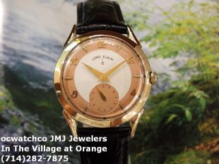 Stunning Vintage 1950s Mens Lord Elgin 23 Jewels Manual Hack Movement