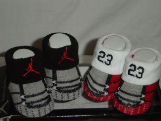 BOYS NIKE AIR JORDAN CRIB BOOTIE HADDAD SOCKS BLACK/WHITE/GREY/RED