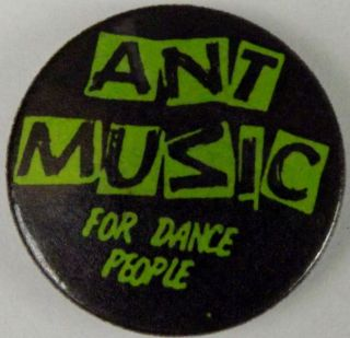 ANT MUSIC For Dance People Green Vtg 80`s Button Badge/ Pin(25mm 1)Ad