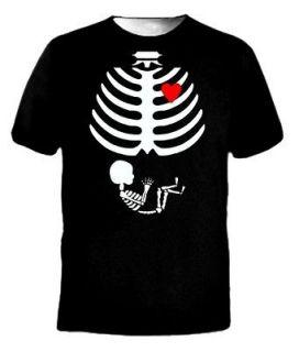 Maternity Baby Skeleton Love Halloween Costume Funny Small Black T
