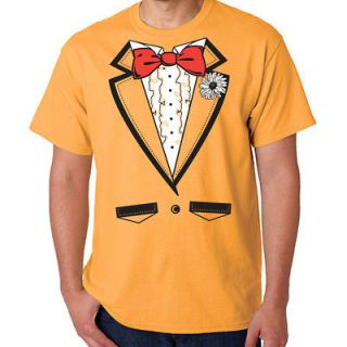 TUXEDO T SHIRT ORANGE BACHELOR PARTY WEDDING PROM NW LG
