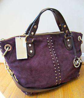 MICHAEL KORS Aubergine Astor Purple Suede Gold Chain Large Satchel