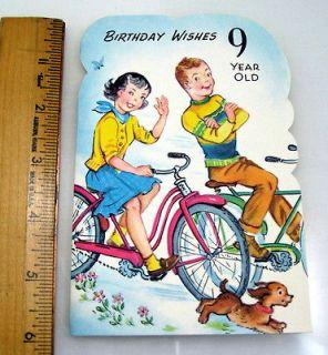 VINTAGE New Happy Birthday 9 Year Old Girl Or Boy Greeting Card
