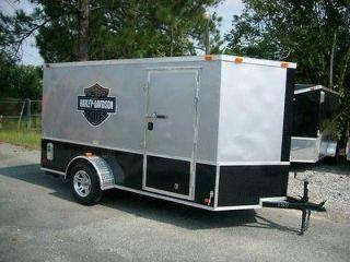 motorcycle enclosed trailer w harley davidson decals blk & silver
