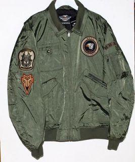 Harley Davidson Mens Military Inspired Bomber Jacket Green Nylon