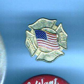 FIRE Department Firefighter Mini Miniature Badge USA Flag