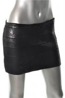 HAUTE HIPPIE BLACK SEQUIN BANDAGE MINI SKIRT NWT sz M