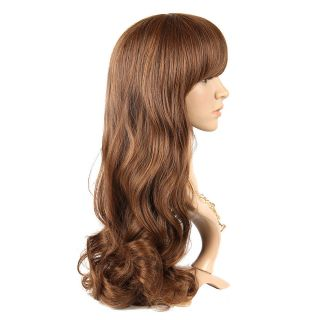 56 inch Fashion Cosplay Wig Side Bang Long Curly Anime Hair Wig Brown