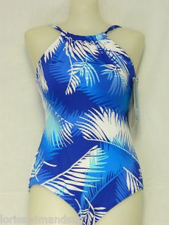 TYR Size 16 High Neck Wild Palms Blue 1 Piece Swimsuit $78 NWT Shelf