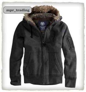 Eagle Mens Fleece Hoodie Faux Fur Jacket Sweatshirt XS S M L Gray