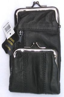 Leather Cigarette Case / Coin Pouch. Snap & Zipper Pockets. 100s