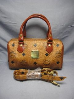 MCM MUNCHEN Mini Handbag/Should​er bag Camel MCM Logo Authentic