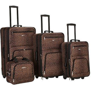 New Travling Leopard 4 Piece Expandable Luggage Set Suitcase Suitcases