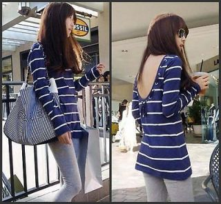 Womens Casual Stripe Fashion OL Backless Long Sleeve Top Blouse T