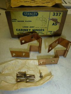 NOS STANLEY CABINET HINGES #337, A5, for OVERLAY DOORS 3/4 THICK