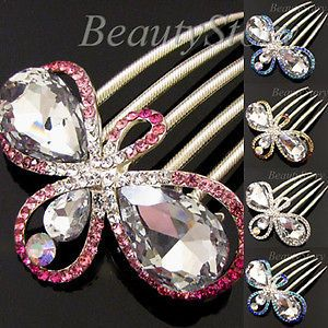1pc rhinestone crystal butterfly French twist hair comb