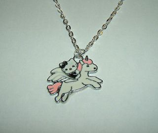Cute Black Hello Kitty on a Unicorn Necklace Pendant with 18 Silver