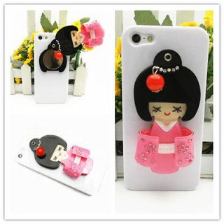 QC6 Glossy Back Case for iPhone 5 5th Pink 3D Japanese Girl Doll