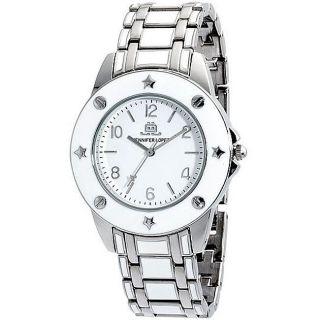 NEW JLo by Jennifer Lopez Womens Sassy Silver & White Enamel Watch