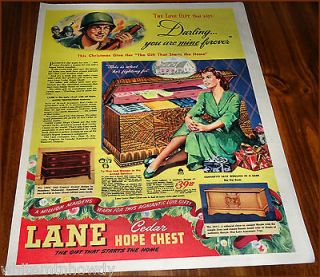 1944 LANE CEDAR HOPE CHEST AD Model 1964, 2043 & 2011~WW II GI