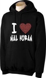PERSONALISED I LOVE NIALL HORAN HOODIE WITH RED RHINESTUD HEART
