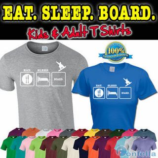 EAT SLEEP BOARD T SHIRT   Snowboard tshirt Mountain clothing snow