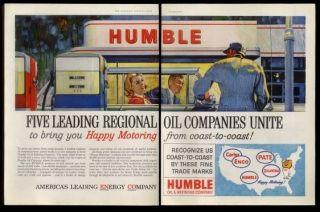 1960 Humble Oil gas station & Enco Carter Pate Oklahoma logos print ad