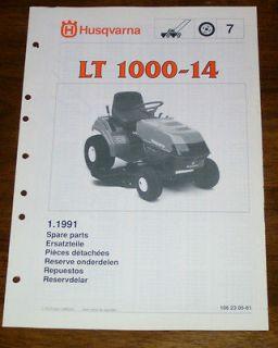 Husqvarna LT1000 14 Riding Mower Parts Manual