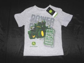 JOHN DEERE Boys Gray T Shirt NWT ( Big Wheels Big Power )