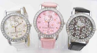 Piece Flower Children Hello Kitty Crystal Wrist Watch Boy Girl Time