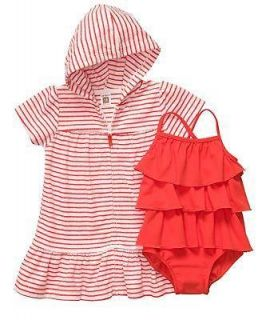 Carters Baby Girls Kids 2 Piece Terry Hooded Cover up Swim Wear
