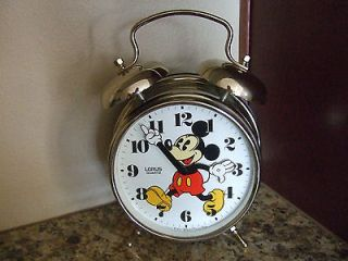 Lorus Quartz Walt Disney Mickey Mouse Golden Alarm Clock NICE