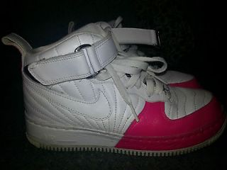 Jordan Nike Youth High Tops Strap Pink White Size 6Y/woman 8