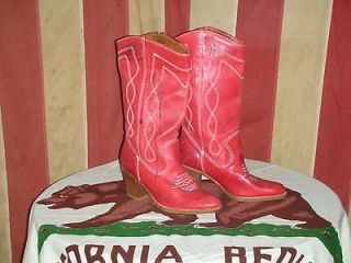 VTG LADIES WOMENS 50s 60s RED LEATHER COWBOY WESTERN BOOTS 5B