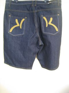 Karl Kani K Logo Graphic Urban Wear Black Raw Rinse Jean Shorts New