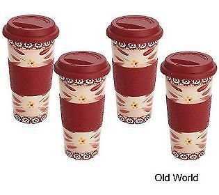 Temp tations TEMPTATIONS OLD WORLD 16oz COFFEE CUP TRAVEL MUG HOT COLD