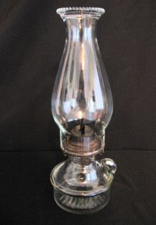 vintage clear p a glass hobnail oil lamp w eagle