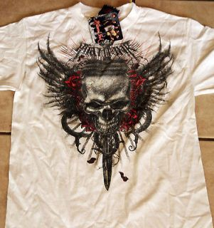 Miami Ink Winged Skull Dagger WHITE Adult Shirt tattoo