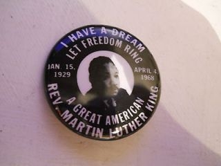 VINTAGE DR. MARTIN LUTHER KING COMMEMORATIVE BUTTON I HAVE A DREAM