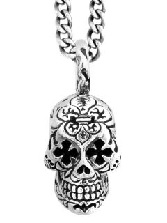 king baby small day of dead skull pendant cross eyes