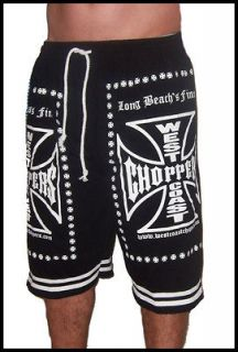 West Coast Choppers Biker New Black T Shirt Shorts