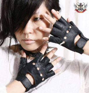 Punk Rock LADY GAGA Fingerless Motorcycle Biker Gloves