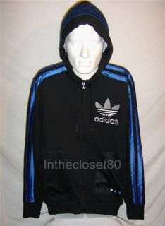NEW ADIDAS CHILE 62 MEGA VARIO FLEECE MENSTRACK TOP HOODY JACKET BLACK