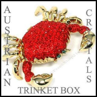 Red Crab Jewelry Trinket Box with Austrian Crystals & Magnetic Closure