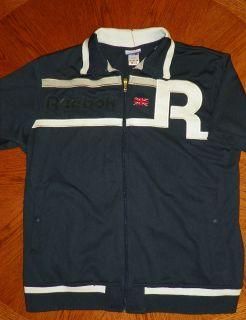 Reebok Mens LARGE Short Sleeve British Union Jack Sewn Logo Zip Navy