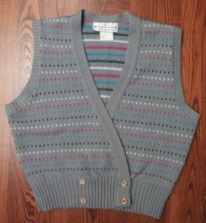 The Wyndham Collection Desginer Polka Dotted Womens Sweater Vest Grey