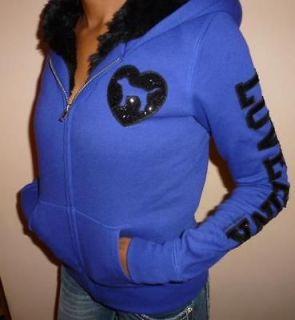 Secret Womens Love Pink Hoody Purple Hooded Fur Jacket Sweater Sz XS