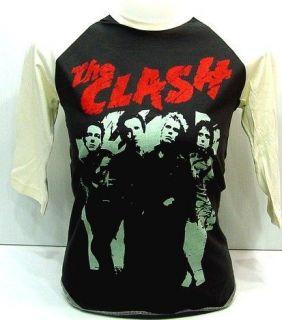 THE CLASH 80s UK Concert VTG Punk Rock 3/4 T Shirt S